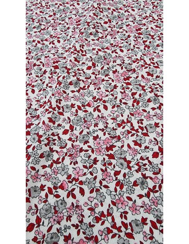 Coton cretonne Leonie Ivoire/Rose