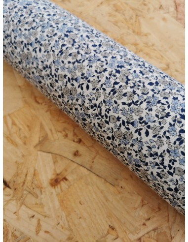 Coton cretonne Leonie ivoire/bleu